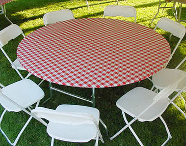 Red Gingham Plastic Elastic Round Table Cover Picnic