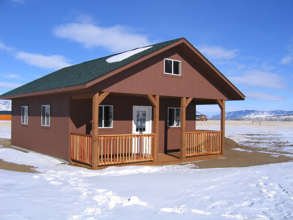 brown cabin with porch 20 x 20 tuff shed flickr. Black Bedroom Furniture Sets. Home Design Ideas