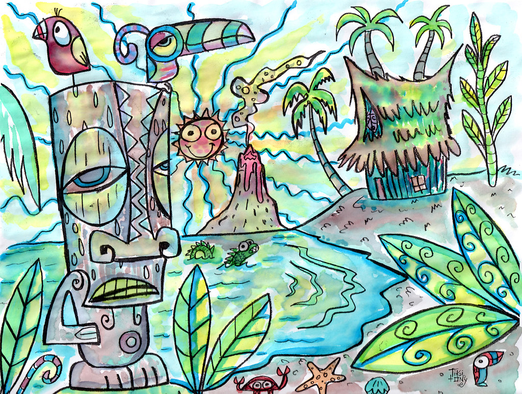 Tiki beach coloring page water color small | Print me out fo… | Flickr