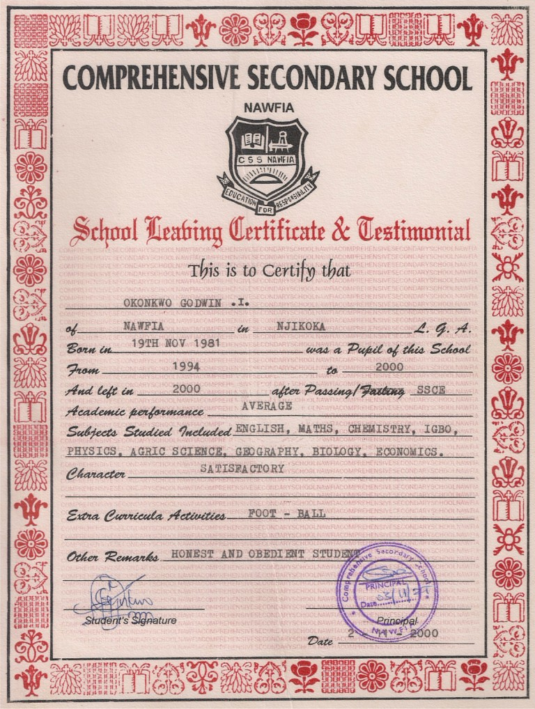 secondary school leaving certificate and testimonial