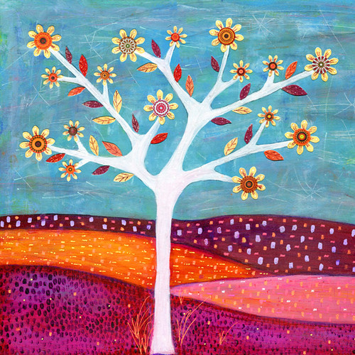 Amber Tree Art Abstract Collage Tree Painting by Sascalia | by sascalia