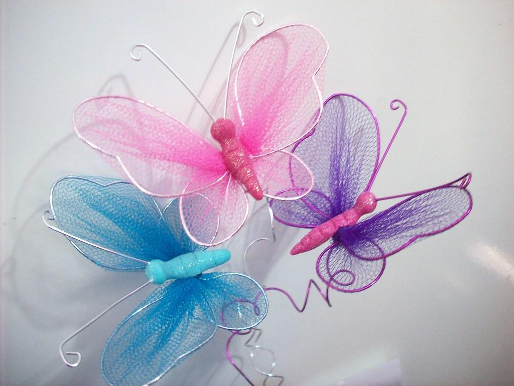 Mariposa en tul y alambre | Mariposa en tul y alambre de