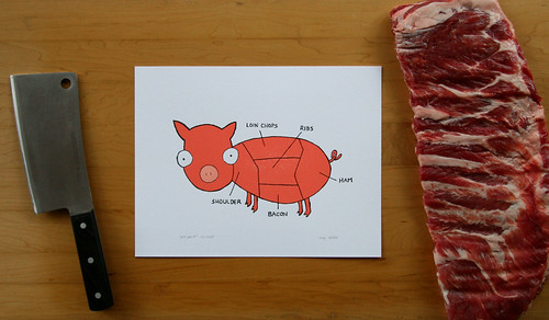 Pink Pig - Letterpress Art Print - Part Chart | by RED BIRD INK