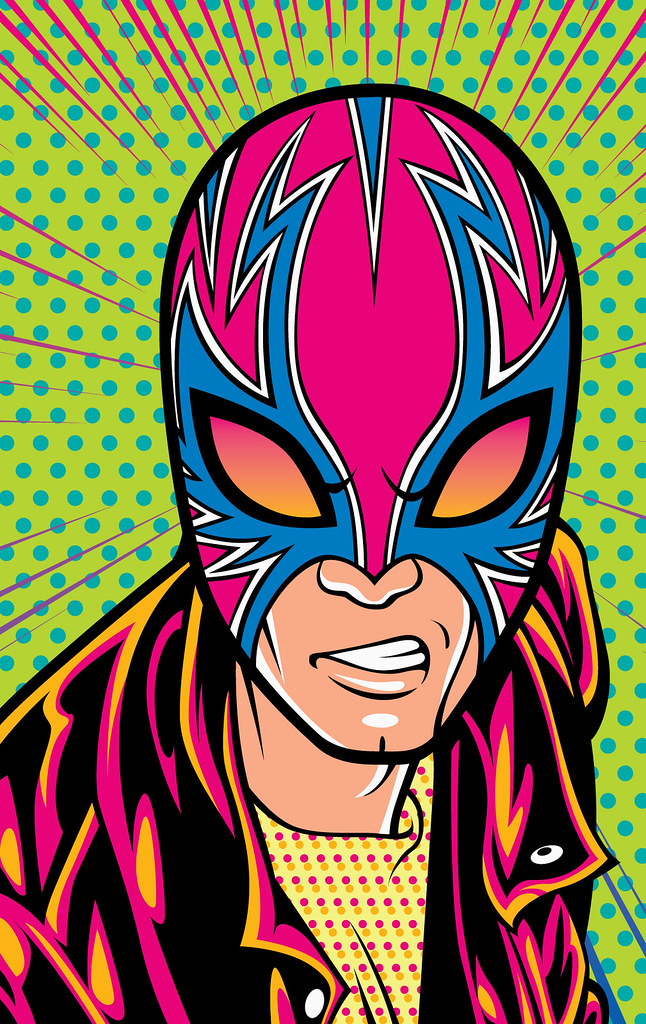 Punk Lucha Libre Wrestler Face Art | Comic book style ...