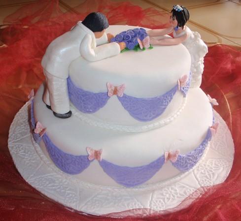 2 tiers fondant wedding cake purple white | fadzilah abdul