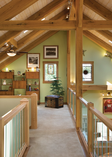 The Melody Lane Timber Frame Home Loft Open To The