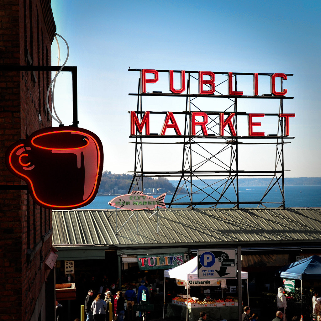 Pike place markets signs neon signs at the pike place for Seattle fishing jobs