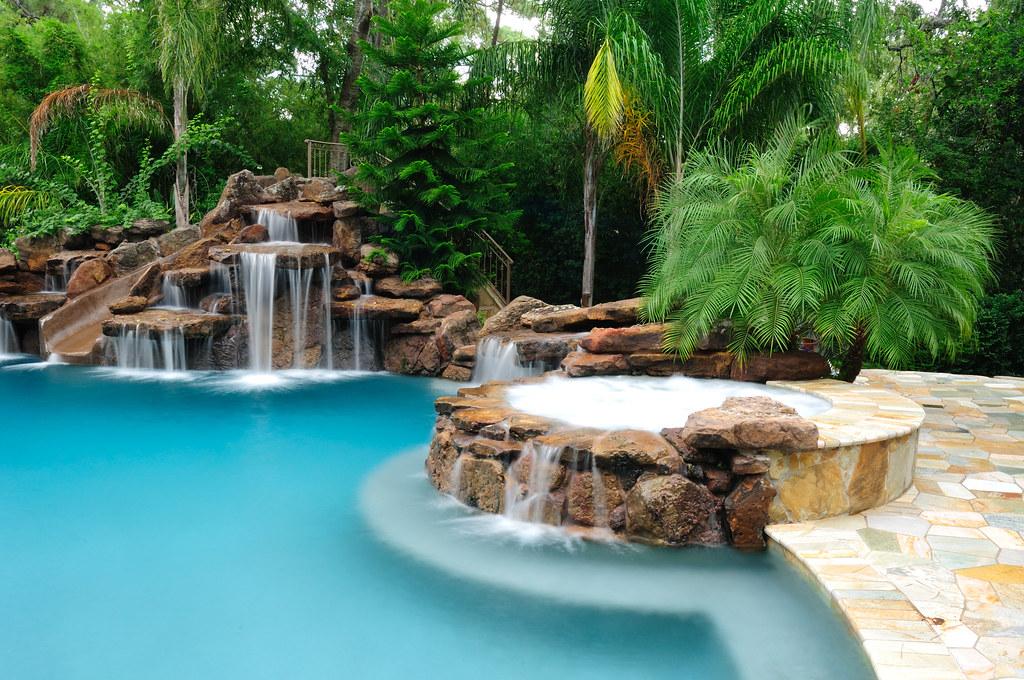 platinum pools slide and waterfall by platinum pools