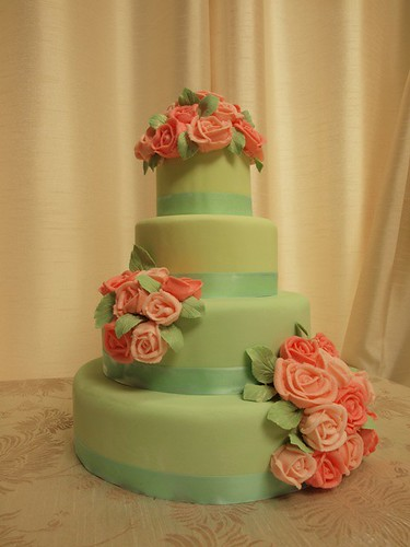wedding cake red roses mint green wedding cake with pink roses mint green 23665