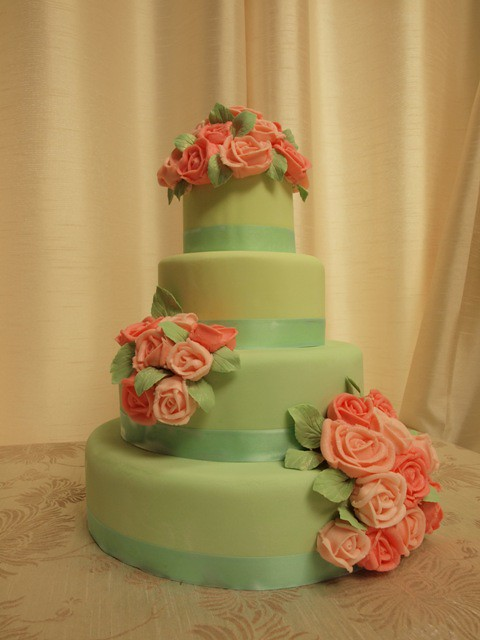 Mint Green Wedding Cake With Pink Roses Mint Green