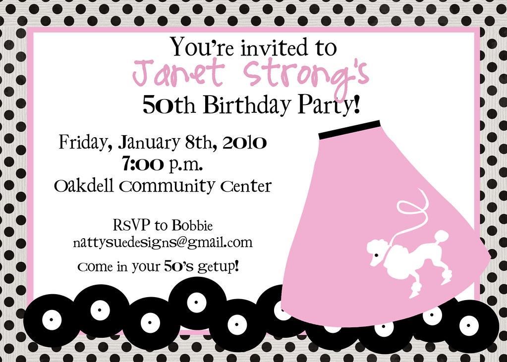 50\'s Birthday Bash invitation @ www.nattysuedesigns1.etsy.… | Flickr