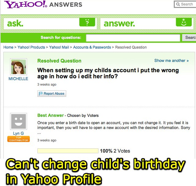 Can't Change Child's Birthday In Yahoo Profile