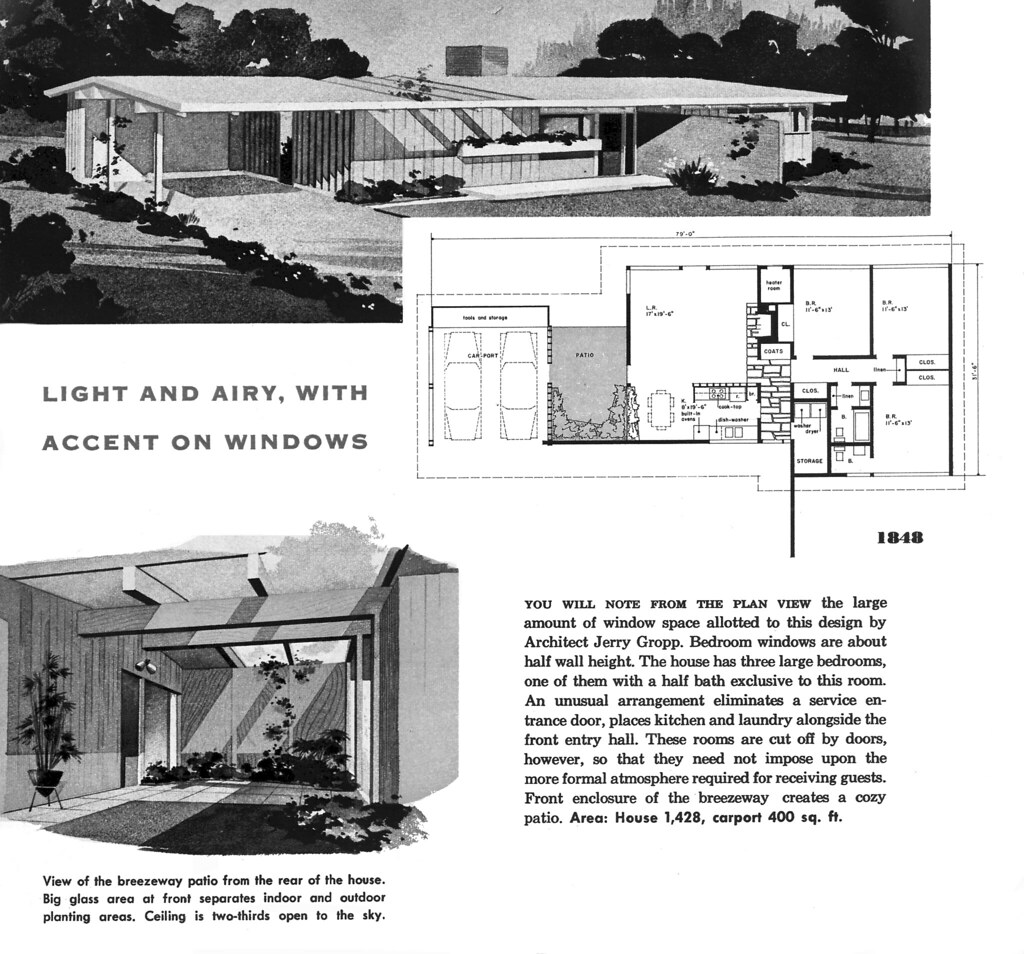 Plan 1848 Architect Jerry Gropp New Homes Guide 1956