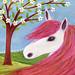 Horse Pony Original Mixed Media Art Painting by Sascalia