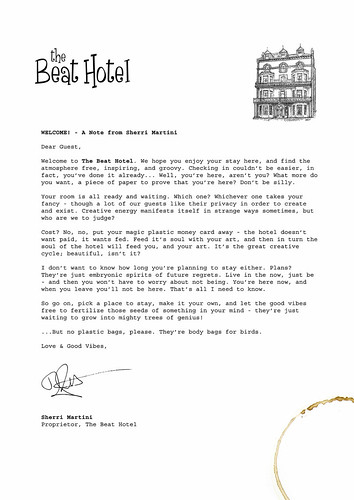 Welcome Letter To The Beat Hotel