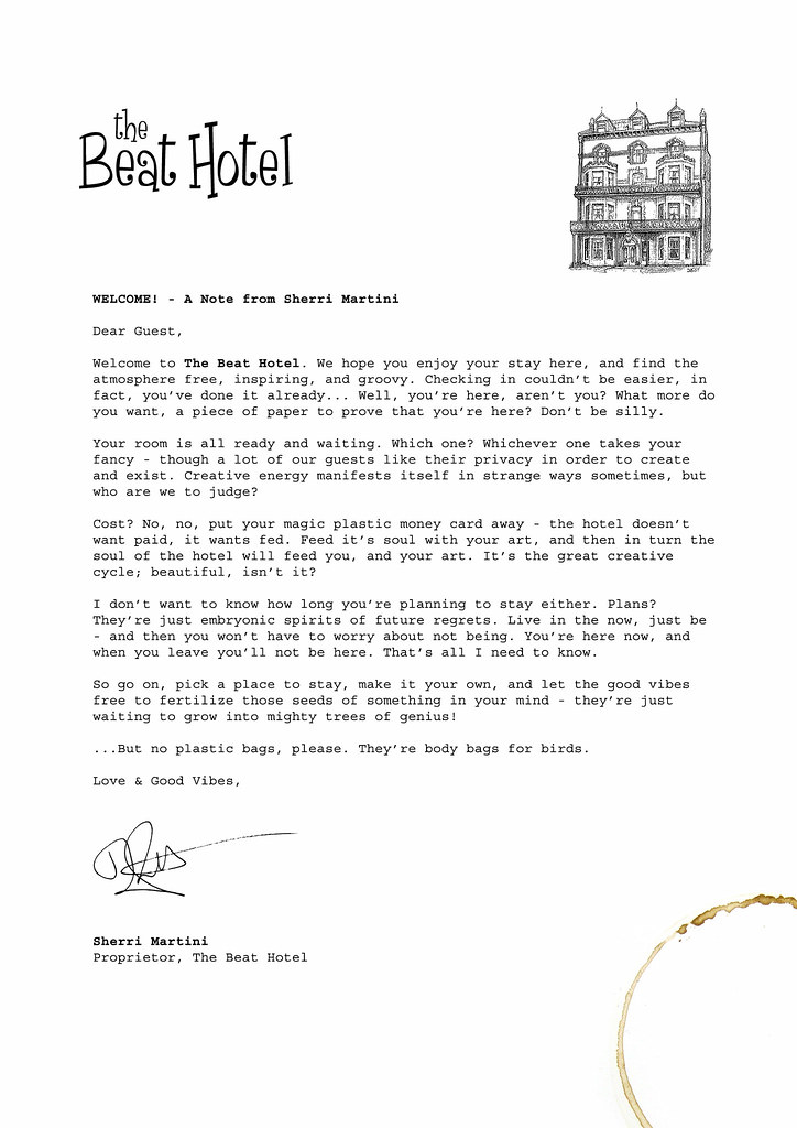 Welcome letter to the beat hotel this is sherri martini flickr welcome letter to the beat hotel by filmtrip belfast spiritdancerdesigns Choice Image