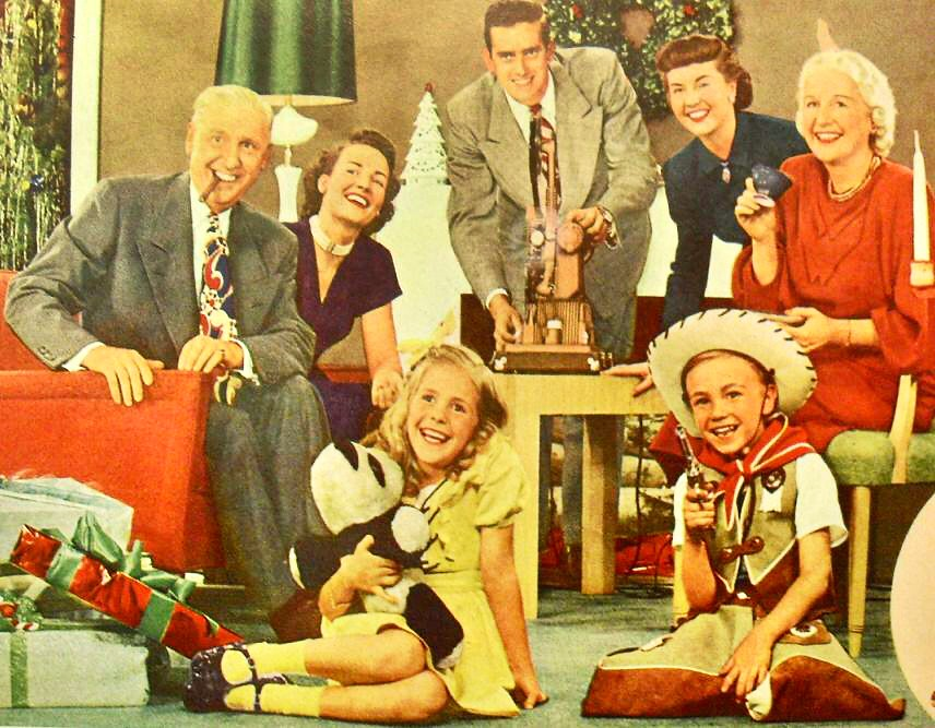 1950S Vintage Americana Family Photo Kids Cowboy Christmas -9639