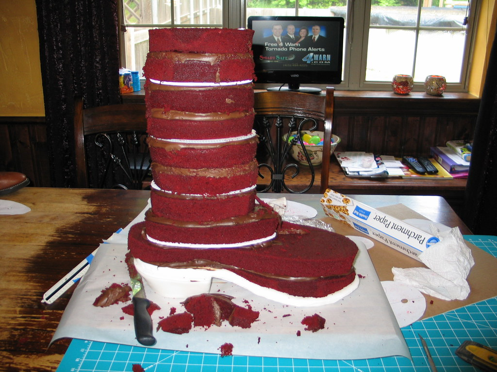 Cowboy Boot Cake Quot Carving Quot The Cake Was 10 Layers Of Red