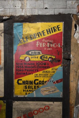 Chain Garage, Hanger Lane, London - car hire poster, c1959