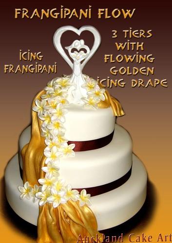 Golden Wedding Cake With Icing Flower Cascade