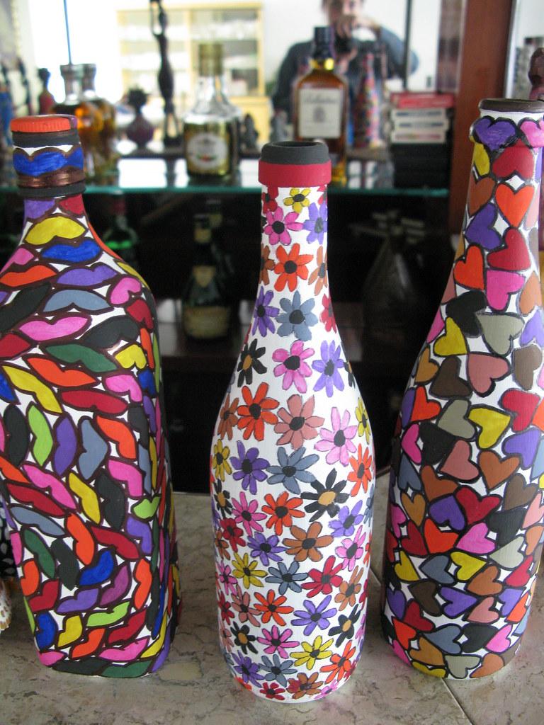 Botellas Pintadas Y Decoradas Para Bautizo
