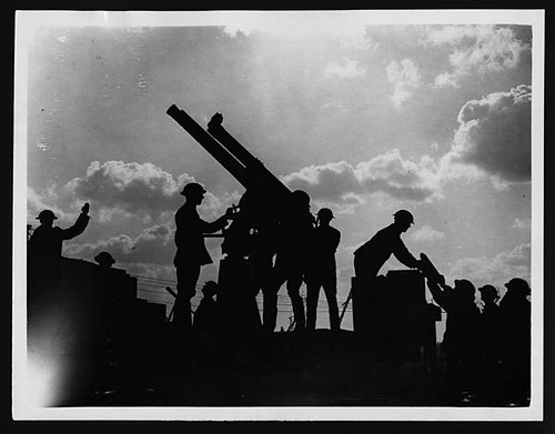 Anti-aircraft gun in action during the battle | by National Library of Scotland