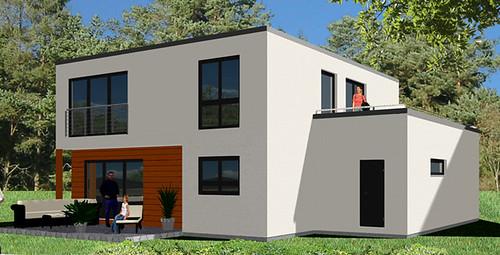 Modernes kubushaus mit eingezogener terrasse und garage mi for Modernes haus dachterrasse