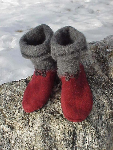 Slipper Boots Made From Recycled Sweater Pair Of