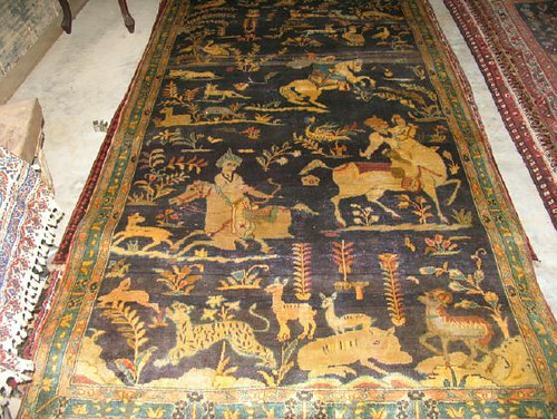 15 Antique Qum Persian Hunting Rug 1100 Approximately 4
