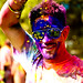 Holi festival : yellow face