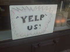 First look of the new Yelp stickers for retail establishments. | by Rich Rogala