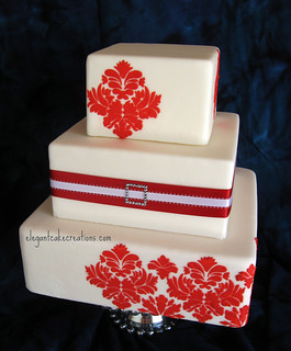 Red Damask Wedding | by Elegant Cake Creations AZ