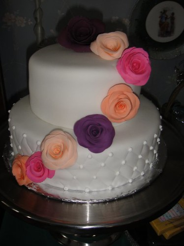 Birthday Cake with gum paste flowers Kali Flickr