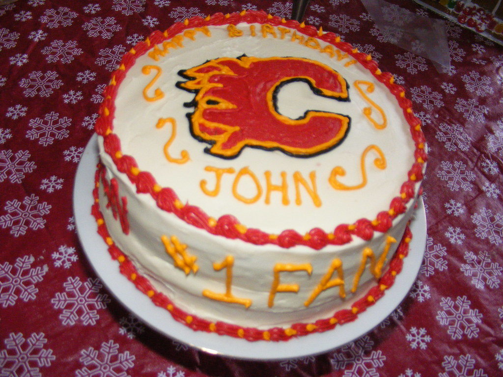 Calgary Flames Birthday Cake Used A Frozen Buttercream Tra Flickr