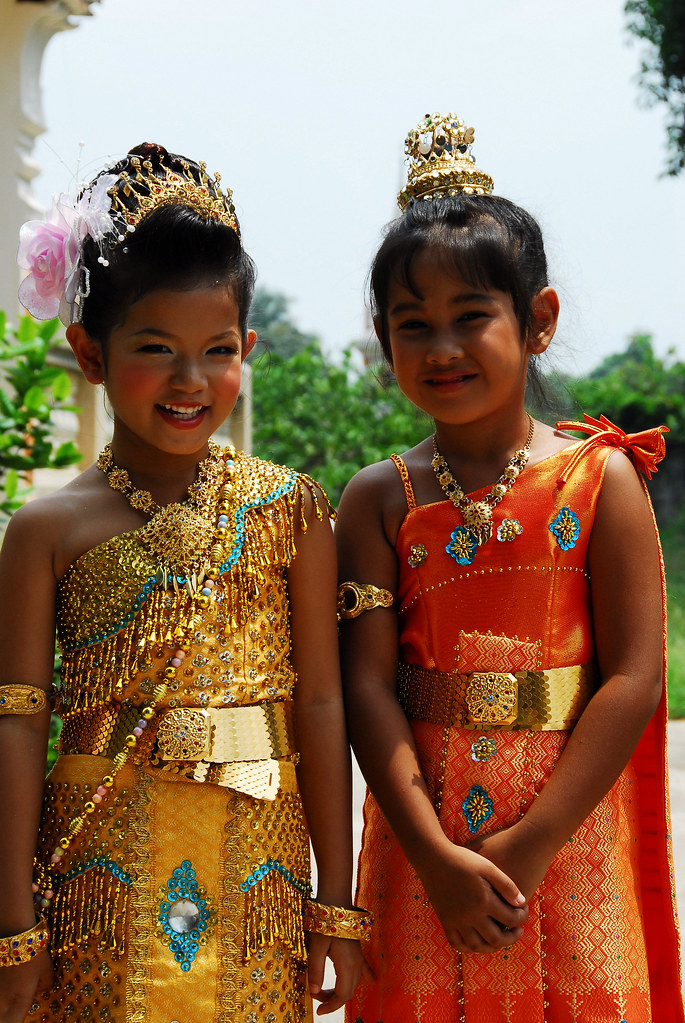 Two Happy Thai Children In Traditional Costume  A School -9896