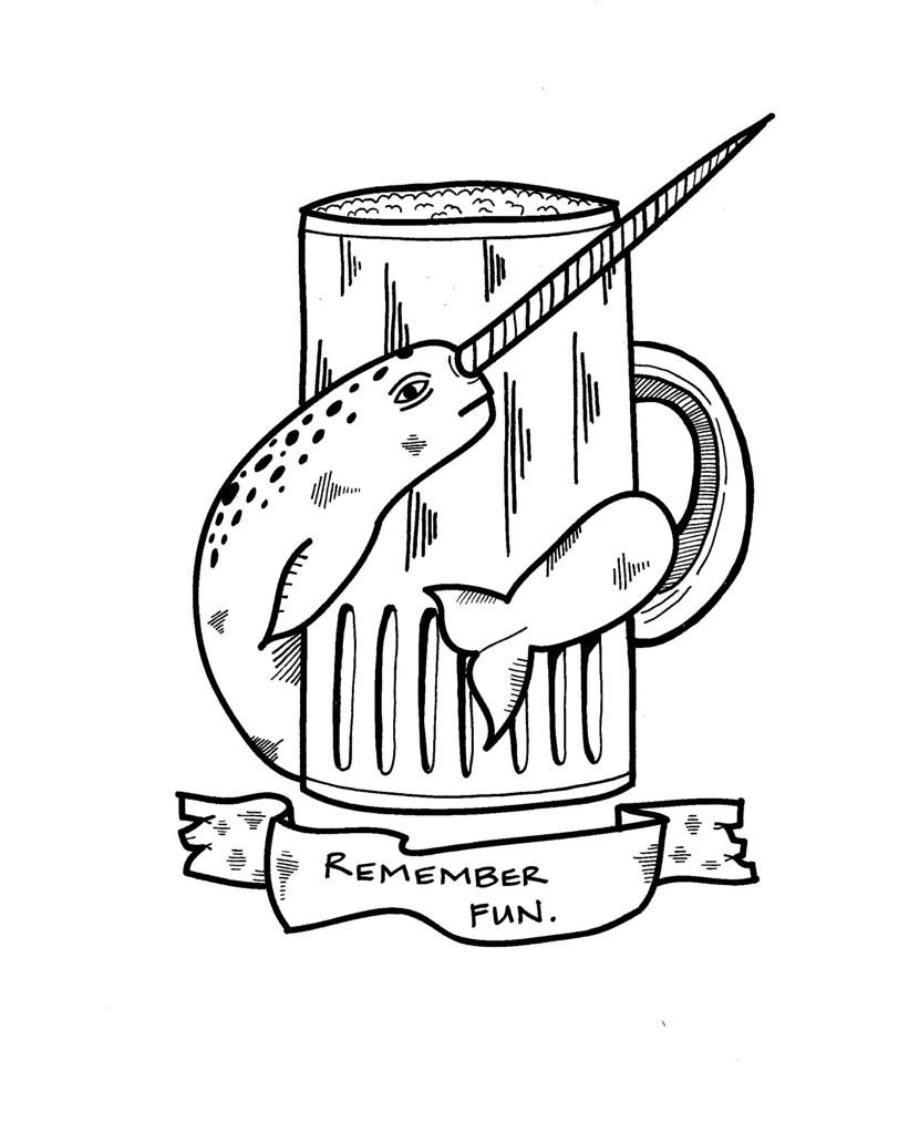 hsiung narwhal beer mug tattoo design michael c hsiung flickr. Black Bedroom Furniture Sets. Home Design Ideas