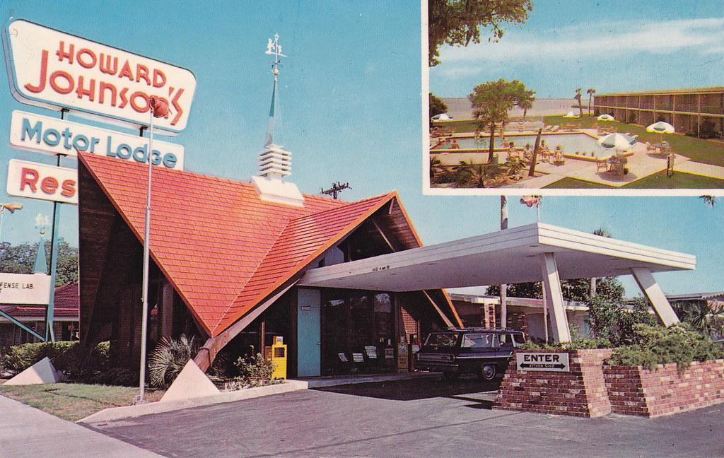 Vintage postcard howard johnson 39 s motor lodge panama c for Bay motors panama city florida