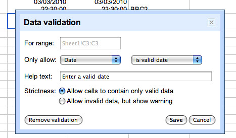 Data validation in google spreadsheet | by psychemedia