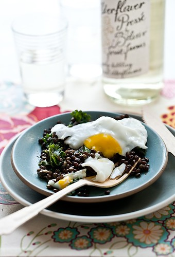 Fried Egg, Warm Lentil & Kale Salad | by tartelette