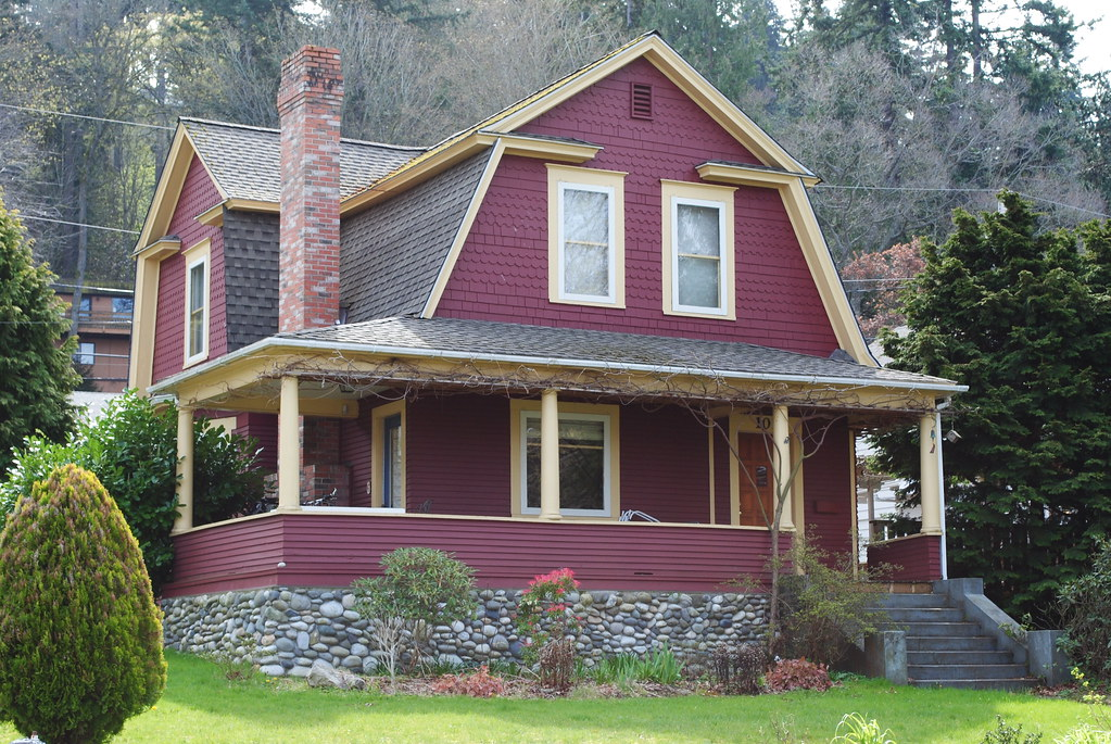 Dutch colonial revival in red bellingham forest st - House paint colors exterior photos ...