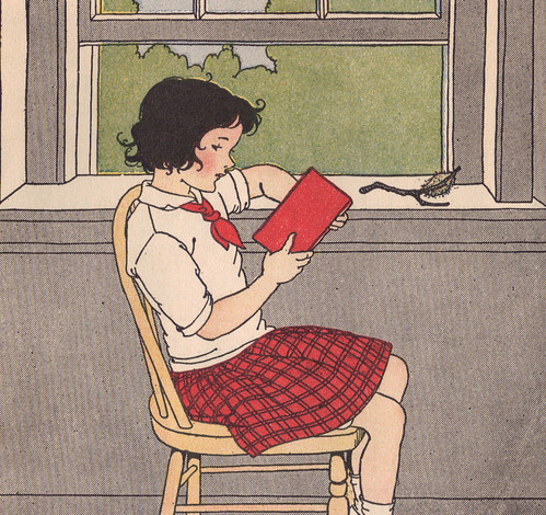 Jane was reading by the classroom window. ill by M. Davis | by katinthecupboard