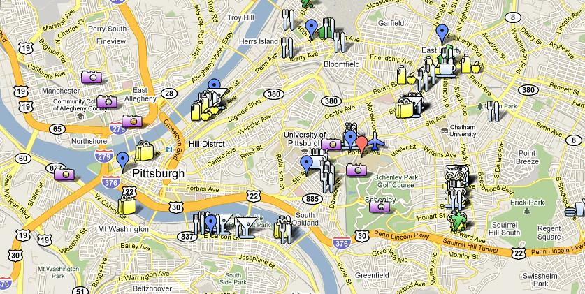 Pittsburgh Map Google Map of Pittsburgh AttractionsRestau Flickr