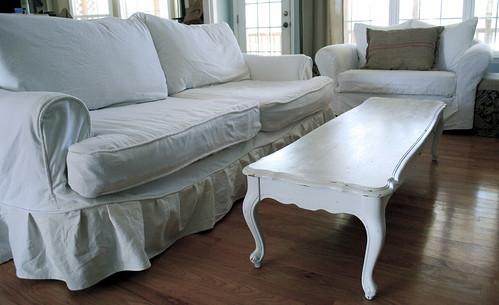 T s white slipcovered sofa The Slipcover Girl