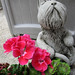 Dog Statue with Flowers