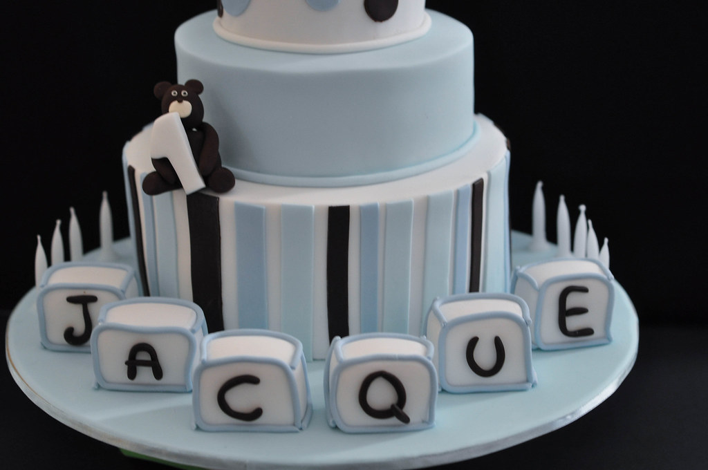 Blue Christening Cake With Baby Name Blocks Blue And Brown Flickr