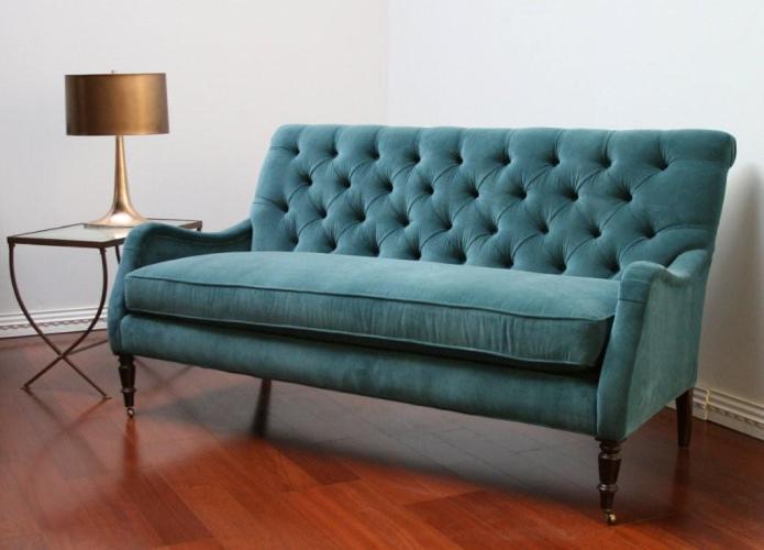 Peacock blue velvet tufted sofa lindakdesign flickr for Cameron tufted chaise peacock