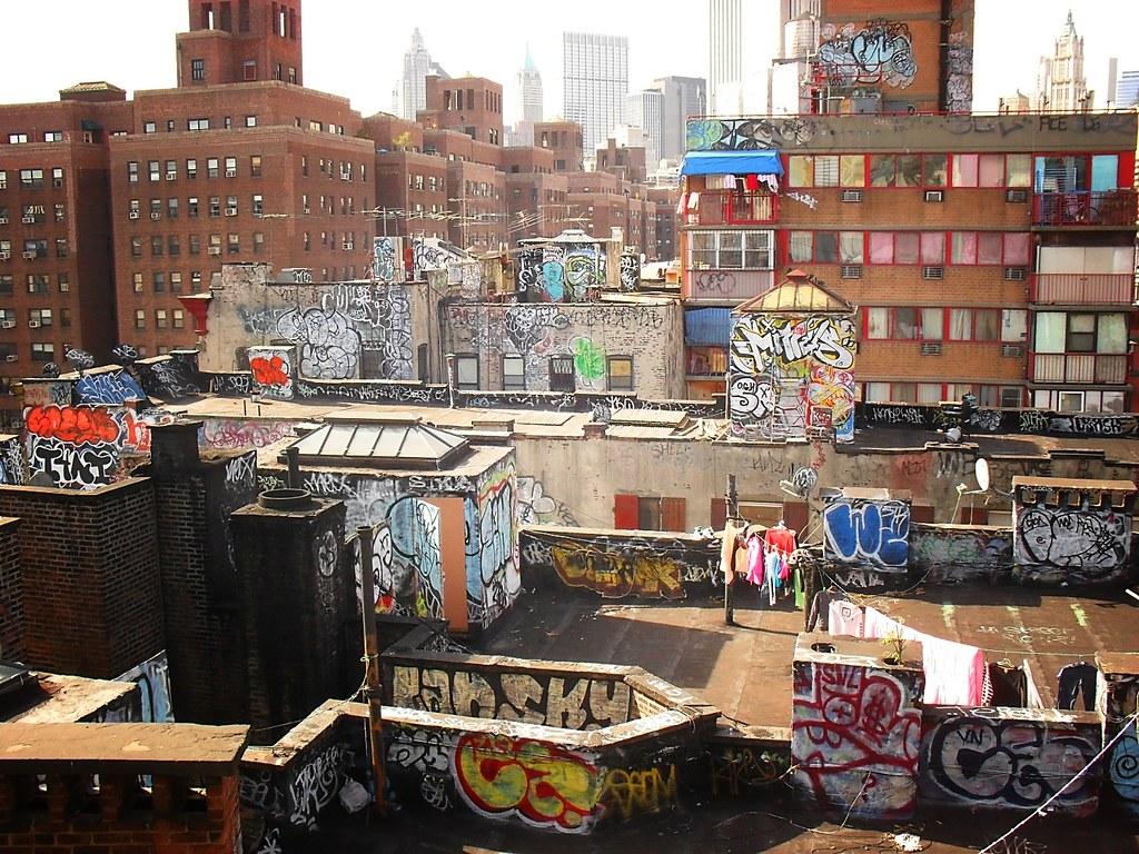 Chinatown Rooftop Graffiti View From The Manhattan Bridge
