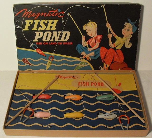 1940s vintage fish pond magnetic toy game box graphics ill for Koi pond game online