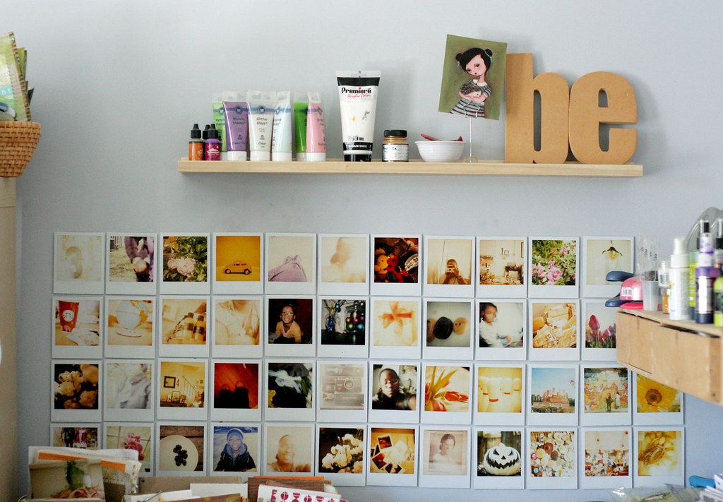 expanded polaroid wall finally added more polaroids think flickr. Black Bedroom Furniture Sets. Home Design Ideas