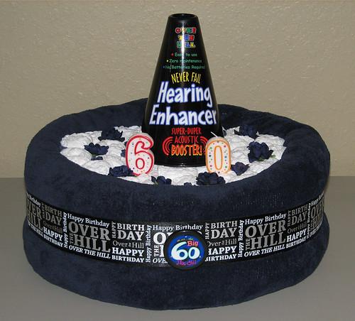 One Tier Depends Birthday Joke Diaper Cake (Front)